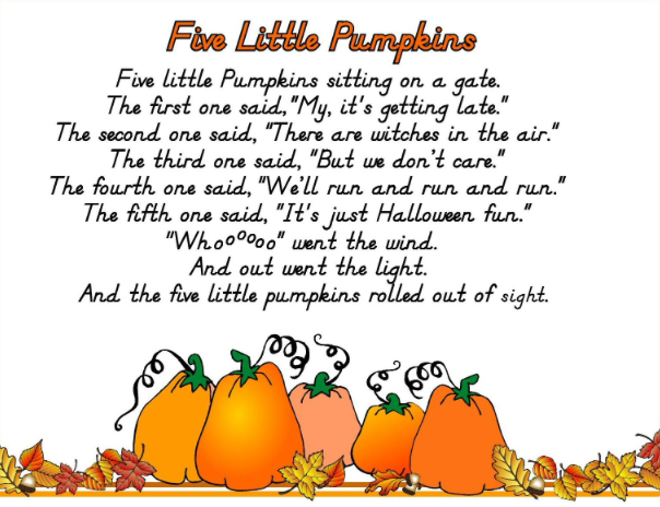 photograph relating to Five Little Pumpkins Poem Printable titled Halloween Poems